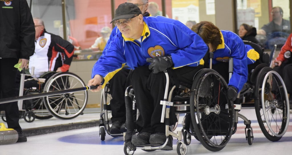 Alberta skip Jack Smart in action at the 2016 Canadian Wheelchair Curling Championship at the Callie Club in Regina (Curling Canada/Morgan Daw photo)