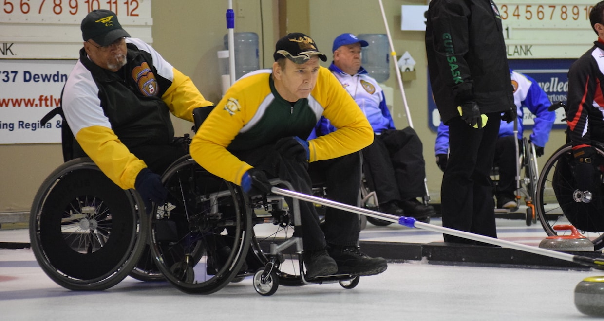 Northern Ontario Skip Doug Dean In Action At The 2016 Canadian Wheelchair Curling Championship Regina