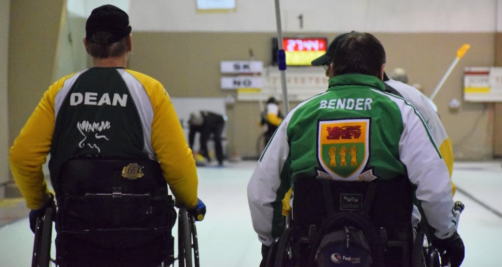 Skips Doug Dean (Northern Ontario) and Darwin Bender (Saskatchewan) in the house as the Page 1 vs 2 playoff game gets underway at the 2016 Canadian Wheelchair Championship in Regina (Curling Canada/Morgan Daw photo)