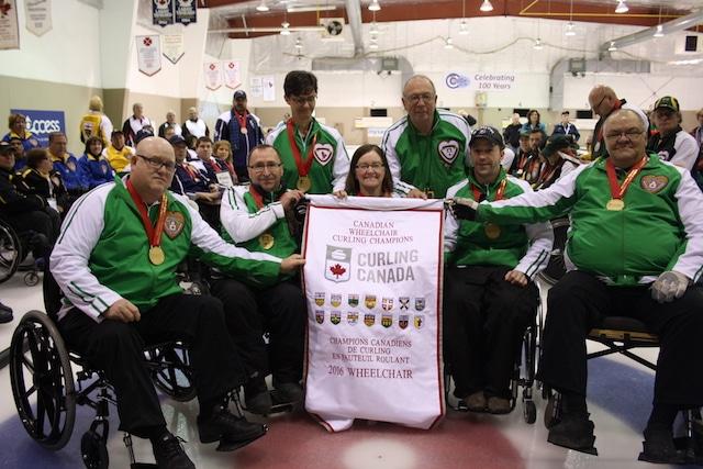 Team Saskatchewan, 2016 Canadian Wheelchair Curling Championship gold medallists (Curling Canada photo)
