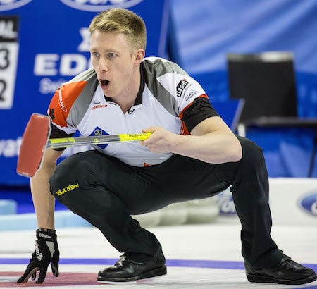 Marc Kennedy calls sweeping instructions to teammates. (Photo, World Curling Federation/Céline Stuckli)