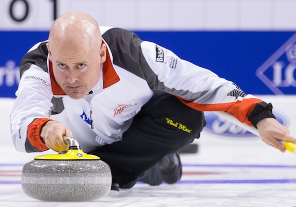 Canadian skip Kevin Koe takes aim during his team's win over Russia on Tuesday. (Photo, World Curling Federation/Céline Stuckli)