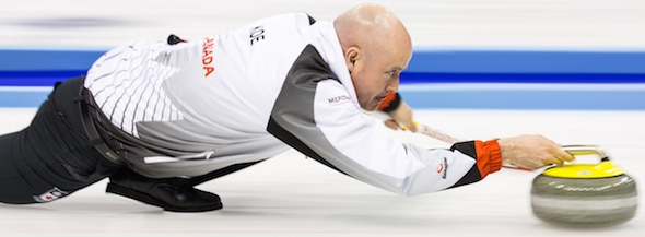 Kevin Koe's Canadian team is headed to the Page 1-2 playoff at the 2016 World Men's Championship. (Photo, World Curling Federation/Céline Stuckli)