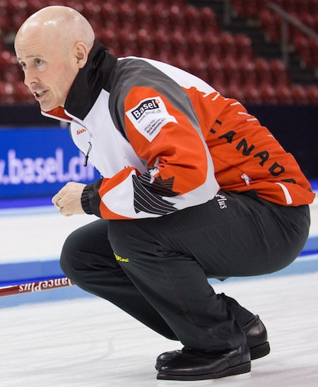 Team Canada's Kevin Koe will attempt to win his second world title on Sunday. (Photo, World Curling Federation/Céline Stucki)