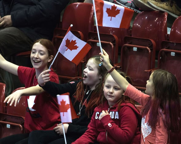 Canadian fans had plenty to cheer about on Saturday as Team Canada won its opener at the World Men's Championship, presented by Ford of Canada. (Photo, World Curling Federation)