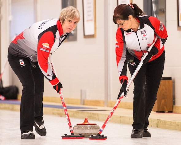 Team Canada's Judy Pendergast, left, and Sandy Bell keep things clean during action on Sunday. (Photo, World Curling Federation/Céline Stucki)