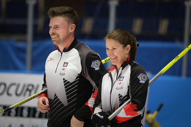 Canada's Dustin Kalthoff and Marliese Kasner are building momentum with two wins at the 2016 World Mixed Doubles Curling Championship in Karlstad, Sweden (WCF/Richard Gray photo)