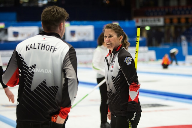 Marliese Kasner and Dustin Kalthoff are all smiles after clinching a playoff spot at the 2016 World Mixed Doubles Curling Championship in Karlstad, Sweden (WCF/Alina Androsova photo)
