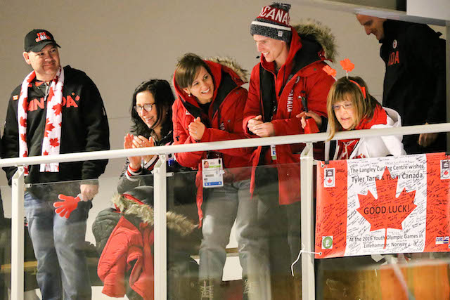 Canadian fans played a huge role in supporting Team Canada at the Youth Olympic Games Lillehammer, Norway, says Karlee Burgess, who played second on the gold-medal team (WCF/Richard Gray photo)