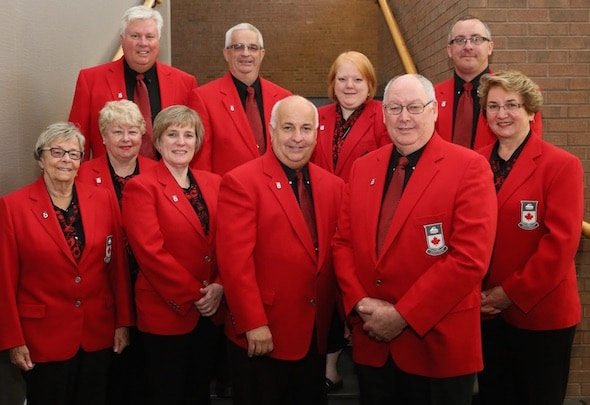 Curling Canada's 2016-17 Board of Governors, from left, front, Shirley Osborne, Cathy Hughes, Maureen Miller, Chair Peter Inch, Vice-Chair Resby Coutts and Lena West. Back, from left, John Shea, Ron Hutton, Angela Hodgson, Scott Comfort. (Photo, Curling Canada/Neil Valois)