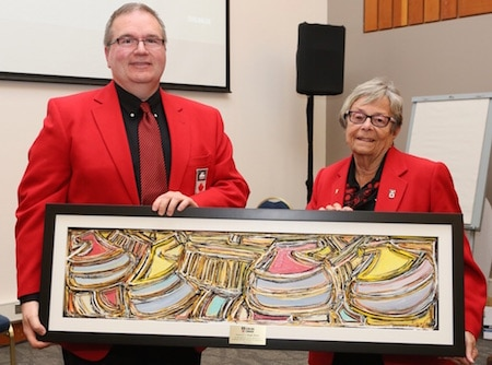 Hugh Avery, winner of the Board of Governors Special Recognition Award, with fellow governor Shirley Osborne. (Photo, Curling Canada/Neil Valois)