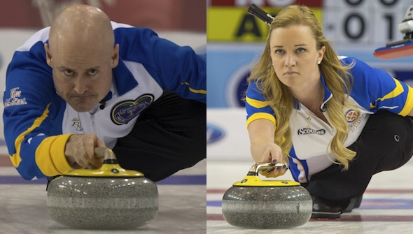 Reigning Canadian champions Kevin Koe, left, and Chelsea Carey head the field at the 2016 Home Hardware Canada Cup in Brandon. (Photos, Curling Canada/Michael Burns/Andrew Klaver)
