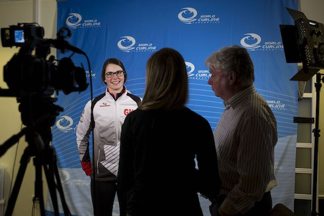 """Through competing and meeting new people, I've learned so much,"" says Mary Fay, seen here in the media zone at the 2016 World Junior Curling Championships in Taarnby, Denmark (WCF/Marissa Tiel photo)"
