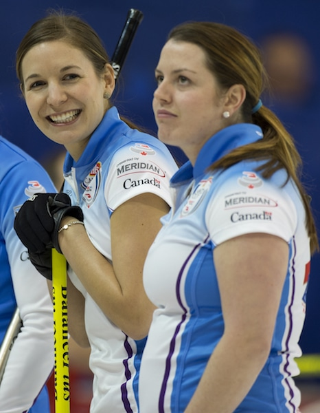 Rachelle Brown and Dana Ferguson at the 2015 Home Hardware Canada Cup in Grande Prairie, Alta. (Curling Canada/Michael Burns photo)