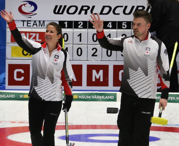 Marliese Kasner, left, and Dustin Kalthoff are the first qualifiers for the 2018 Canadian Mixed Doubles Olympic Trials after representing Canada at the 2016 World Mixed Doubles Championship. (Photo, World Curling Federation/Richard Gray)
