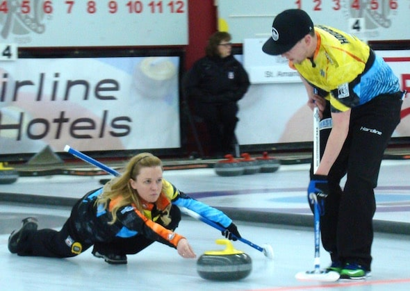 Chelsea Carey delivers rock to teammate Colin Hodgson during the 2016 Canadian Mixed Doubles Championship at the Nutana Club in Saskatoon. (Photo, Curling Canada/Darlene Danyliw)