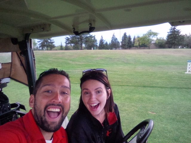 There's always time for a golf cart selfie! (Photo courtesy of Simon Barrick)
