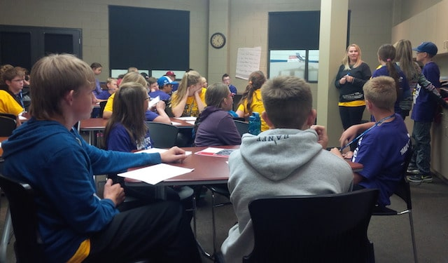 Sport Psychologist Erin Brennan helping the Purple and Gold groups become mental warriors! (Photo courtesy of Simon Barrick)