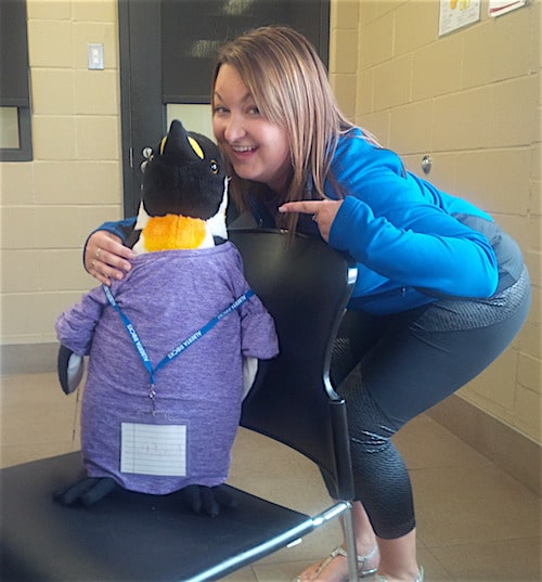 Coach Sarah posing with the Purple group's official mascot – Waddles (Photo courtesy of Simon Barrick)