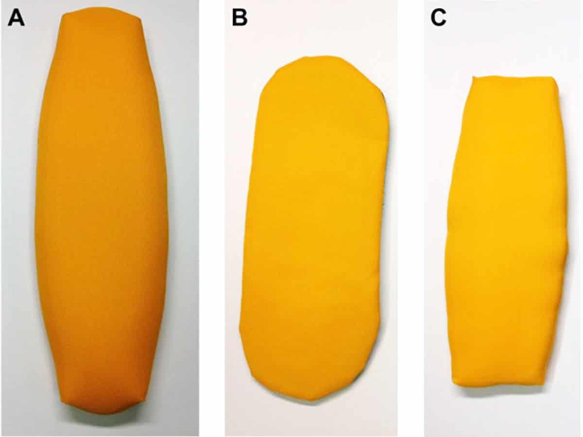 Figure 1. A) standard oval head, B) icePad head, and C) LightSpeed head constructed using Nylon Oxford 420D