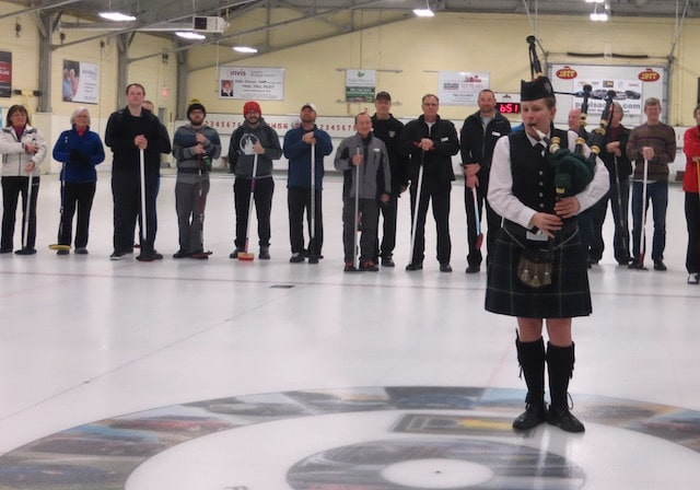 """""""Teams being piped in at the Tournament of Champions – a great experience for curlers just learning the game and for the experienced curlers in new positions,"""" says organizer Chris Hauschild (Photo by Sharon Kiley, Barrie Curling Club)"""