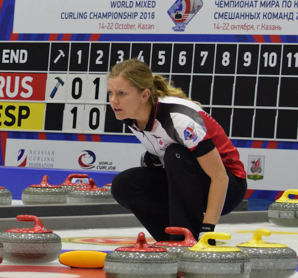 Team Canada vice-skip Sarah Wilkes directs her team's sweepers during the World Mixed Curling Championship in Kazan, Russia. (Photo, World Curling Federation/Alina Androsova)