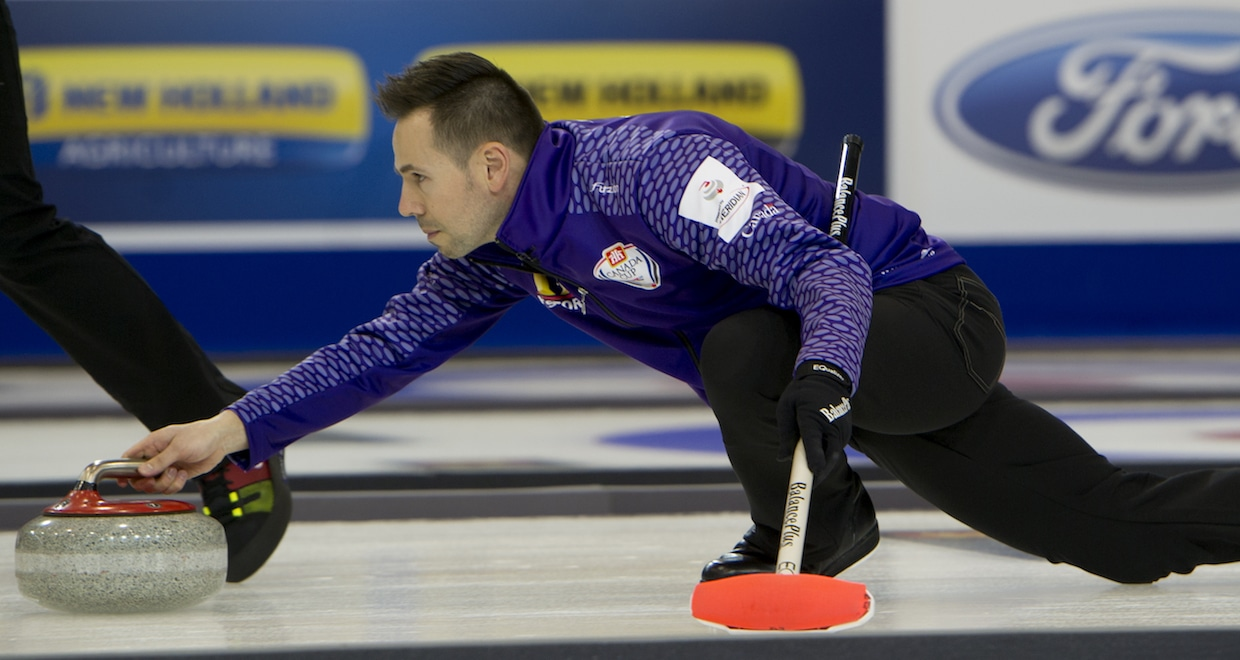 John Epping delivers his stone at the 2015 Home Hardware Canada Cup in Grande Prairie, Alta. (Curling Canada/Michael Burns photo)