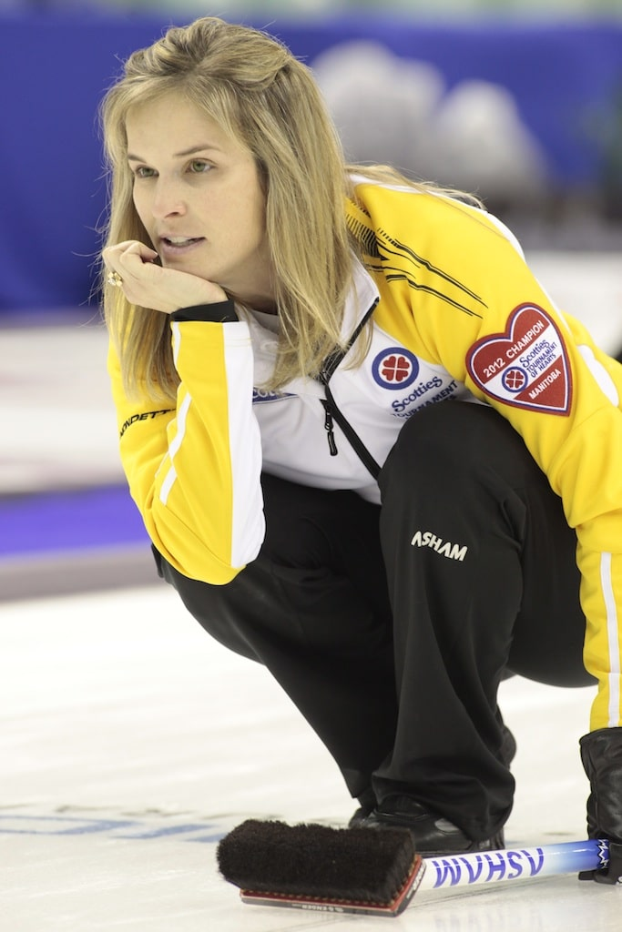 Team Manitoba skip Jennifer Jones during 3rd draw action at The 2012 Scotties Tournament of Hearts, February 18-26, Red Deer, Alberta. The Canadian Womans Curling Championship.