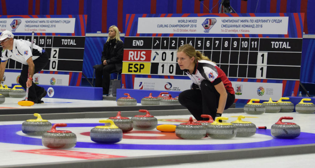 Team Canada third Sarah Wilkes calls the line during action at the 2016 World Mixed Curling Championship in Kazan, Russia (Photo World Curling Federation/Alina Androsova)