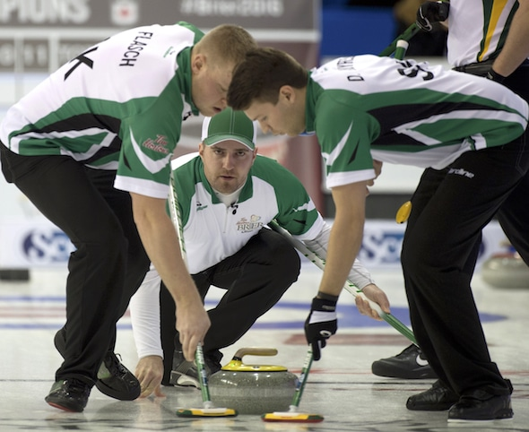 Steve Laycock, middle, along with teammates Colton Flasch, left, and Dallan Muyres were victorious at a World Curling Tour event in Edmonton. (Photo, Curling Canada/Michael Burns)