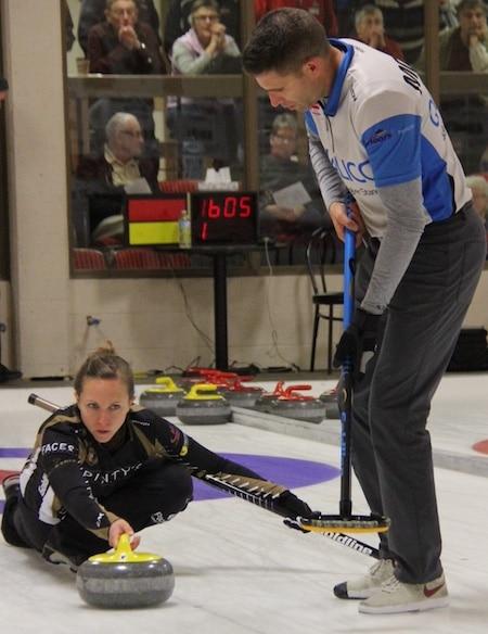 Rachel Homan delivers rock to her partner John Morris during the Wall Grain Mixed Doubles Classic in Kimberley, B.C. (Photo, Glenn Hauptman)