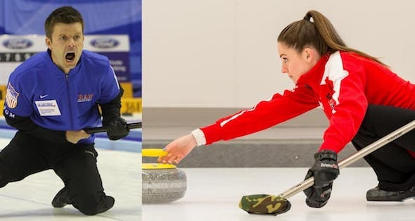 Teams skipped by Heath McCormick, left, and Jamie Sinclair will represent the U.S. at the 2017 World Financial Group Continental Cup in Las Vegas. (Photos, World Curling Federation/Richard Gray and USA Curling)