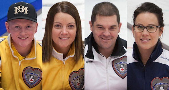 2017 Canadian Mixed Curling Championship All-Stars, from left, skip Braden Calvert (Manitoba), vice-skip Kerri Einarson (Manitoba), second Jake Higgs (Ontario), lead Teri Udle (Nova Scotia). (Photos, Curling Canada/Clifton Saulnier)