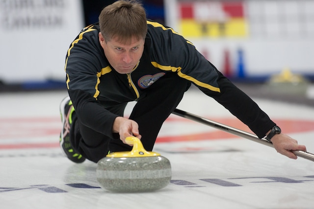 New Brunswick skip Charlie Sullivan delivers his rock during action at the 2017 Canadian Mixed Curling Championship in Yarmouth, N.S. (Curling Canada/Robert Wilson photo)