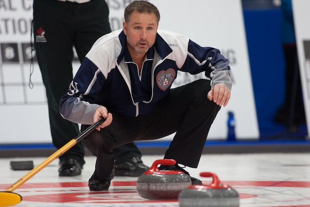 Nova Scotia skip Paul Flemming calls the line during action at the 2017 Canadian Mixed Curling Championship in Yarmouth, N.S. (Curling Canada/Robert Wilson photo)