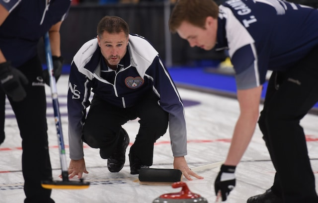 Nova Scotia skip Paul Flemming keeps a close eye on his rock during action at the 2017 Canadian Mixed Curling Championship in Yarmouth, N.S. (Curling Canada photo)