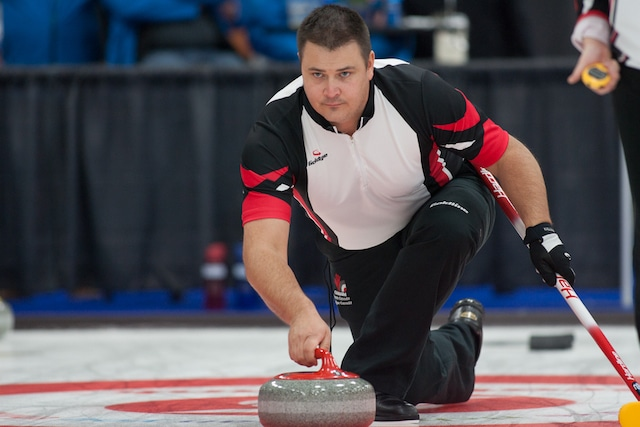 Ontario's Wayne Tuck in Draw 2 action at the 2017 Canadian Mixed Curling Championship in Yarmouth, N.S. (Curling Canada/Robert Wilson photo)