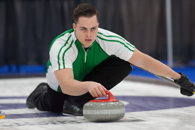 Saskatchewan skip Brady Scharback delivers his rock at the 2017 Mixed Curling Championship in Yarmouth, N.S. (Curling Canada/Robert Wilson photo)