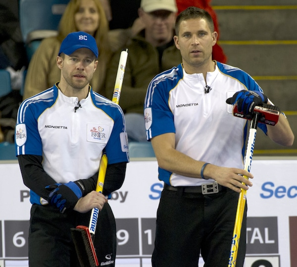 Kamloops B.C.Mar1_2014.Tim Hortons Brier.B.C. third Jim Cotter,skip John Morris.CCA/michael burns photo