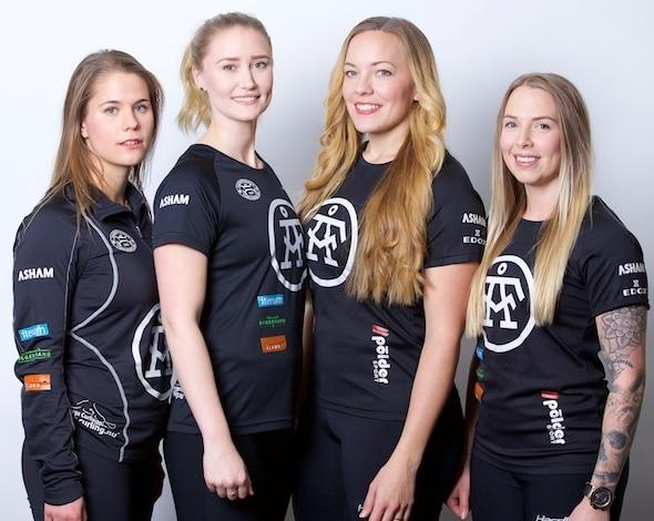 Team Hasselborg, from left, Anna Hasselborg, Sara McManus, Agnes Knochenhaue, lead Sofia Mabergs. (Photo, Anil Mungal)