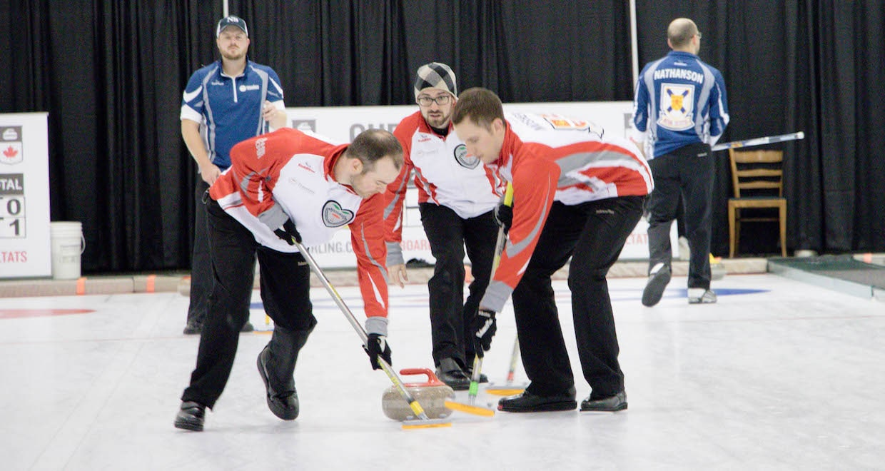Newfoundland and Labrador skip Trent Skanes calls to sweepers Jeff Rose and Mike Mosher during action at the 2016 Travelers Curling Club Championship in Kelowna, B.C. (Curling Canada/Jessica Krebs photo)