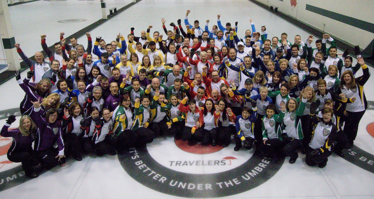 Travelers 2016 teams on the ice at the Kelowna Curling Club (Curling Canada photo)