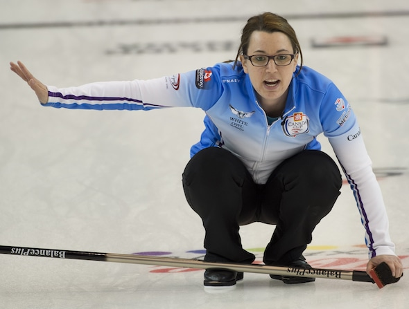 Coming off a big Grand Slam victory on Sunday, Edmonton's Val Sweeting is looking for some mixed doubles success this week in Kimberley, B.C. (Photo, Curling Canada/Michael Burns)