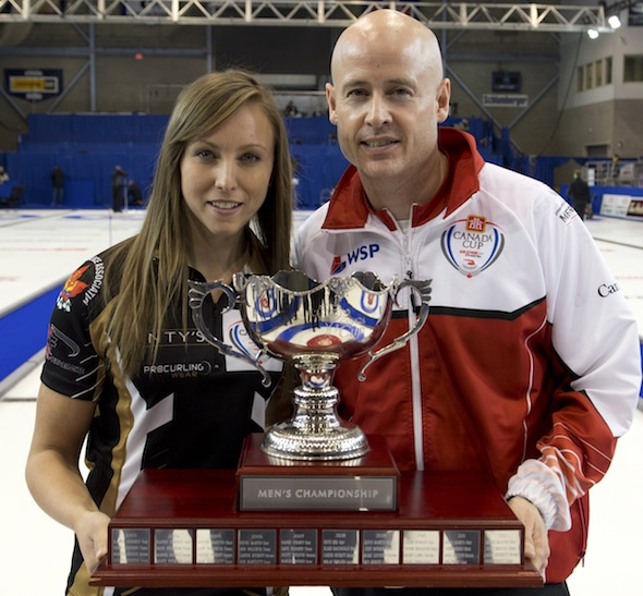 Skips Rachel Homan and Kevin Koe are back to defend their Home Hardware Canada Cup titles. (Photo, Curling Canada/Michael Burns)