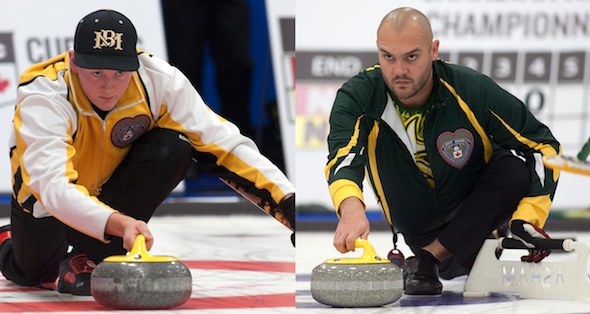 Manitoba's Braden Calvert, left, and Northern Ontario's Trevor Bonot will play for gold later today at the 2017 Canadian Mixed Curling Championship. (Photos, Curling Canada/Clifton Saulnier)