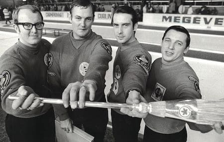1971 Air Canada Silver Broom champs, from left, Bryan Wood, Jim Pettapiece, Rod Hunter and Don Duguid. (Photo, Michael Burns Sr.)