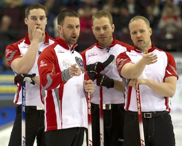 Team Gushue — from left, second Brett Gallant, skip Brad Gushue, lead Geoff Walker and third Mark Nichols — are a full unit again. (Photo, Curling Canada/Michael Burns)