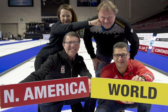 Team North America captain Debbie McCormick, top left, is pulling no punches! She's ready for the 2017 World Financial Group Continental Cup along with (clockwise from top right) Team World Coach Pål Trulsen, Team World Captain Andy Kapp and Team North America Coach Rick Lang. (Photo, Curling Canada/Michael Burns)