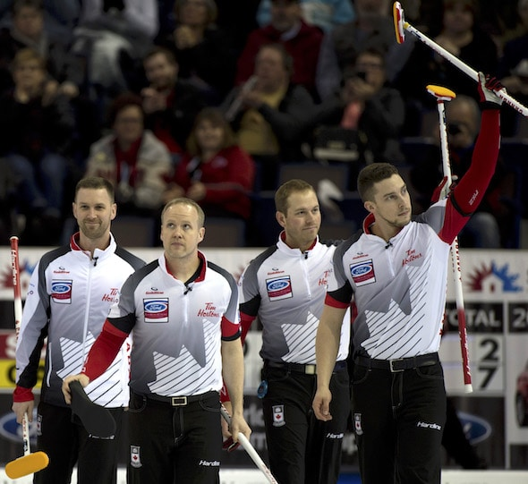 Edmonton Ab. April 3, 2017.Ford Men's World Curling Championship.Canada skip Brad Gushue, third ...