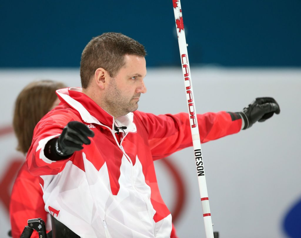 Mark Ideson made to clutch shots in the 8th end to seal the win over Finland. (Photo: Canadian Paralympic Committee)
